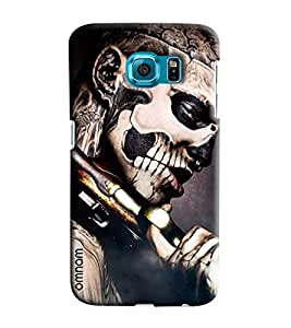 Omanm Micky Skelton With Gun Printed Designer Back Cover Case For Samsung Galaxy S6 Edge