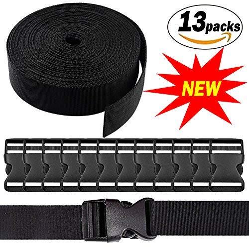 REKYO 1,5 Zoll Breite 10 Yards schwarz Nylon schwere Gurtband und 12ER Flachseite Release Schnallen Nylon Gurtband für DIY Handwerk Rucksack Umreifung -
