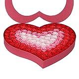 TININNA 100 Stück handgemachtes künstliches Rosenseifen Blumen Bad Seifen Rosen Blumenblatt im Herz Form Kasten kreatives Geschenk für Valentinstag Geburtstag (Rot)
