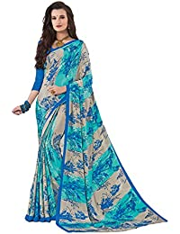 Salwar Studio Women's Grey & Blue Crape Silk Floral Printed Saree With Blouse Piece-ADAA-6434