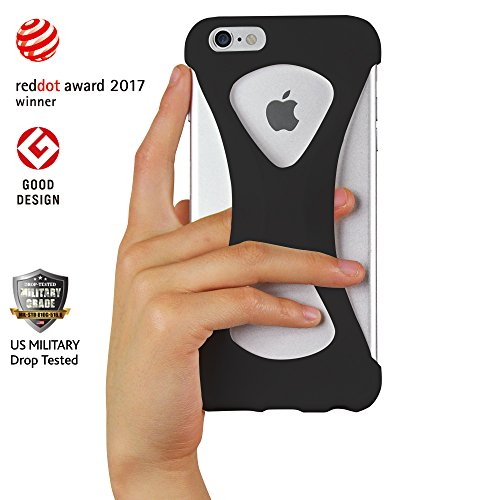 Custodia Case Palmo per iPhone 6s/6 plus (Nero) - One finger gripping iPhone case to prevent dropping Vincitrice del Premio Red Dot: Product Design 2017 e del GOOD DESIGN AWARD 2015 – Test di caduta d Nero
