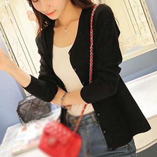 SODIAL(R) V-collo manica lunga del cardigan cashmere a maglia -Verde scuro nero - nero