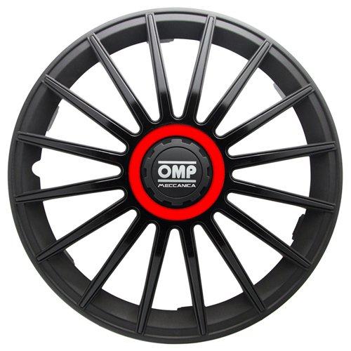 OMP OMP1318 Formula Universal 4 Stück Radkappen, Schwarz/Rot, 4 Stück, 13