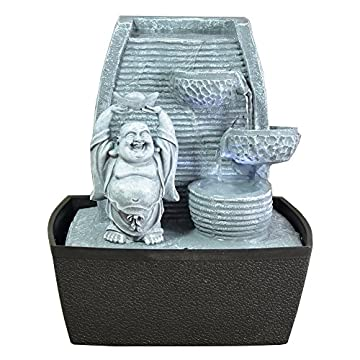 Zen Luz de pared Fuente cubierta Laughing Buddha Piedra Gris / negro 20 x 15 x 24 cm 3