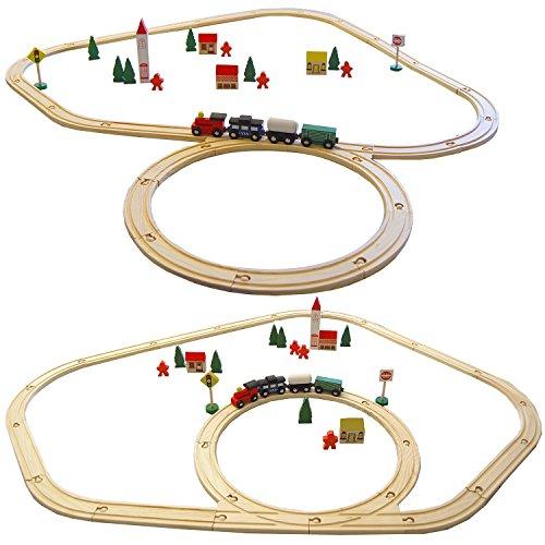 *eyepower 48-teilige Kinder Holzeisenbahn Spielzeugeisenbahn Natur Holz Kinderbahn Set inkl. Zubehör*