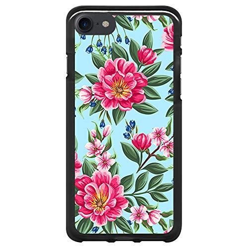 BJJ SHOP Schwarz Hülle für [ iPhone 7 / iPhone 8 ], Klar Flexible Silikonhülle, Design: Rosa Blumen auf blauem Hintergrund