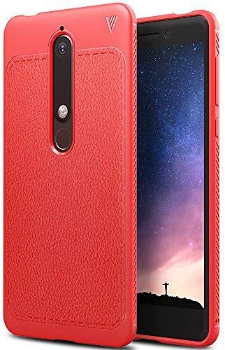 Nokia 6 2018 Hülle, iBetter Slim Weiches Stoßsicheres Gehäuse mit Spezial-Hexagon Texture Schutzhülle Soft Hüllen Handyhülle für Nokia 6 Dual SIM Smartphone VERSION 2018(Rot)