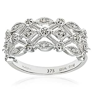 Naava Women's Diamond Ring, 9 ct White Gold Ornately set with White Diamonds