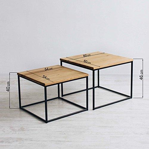Original BestLoft®2er-Set Couchtisch (MSD) Eiche Metall Beistelltisch Industiedesign loft vintage Sofatisch massiv Holz (Eiche geräuchert) - 5
