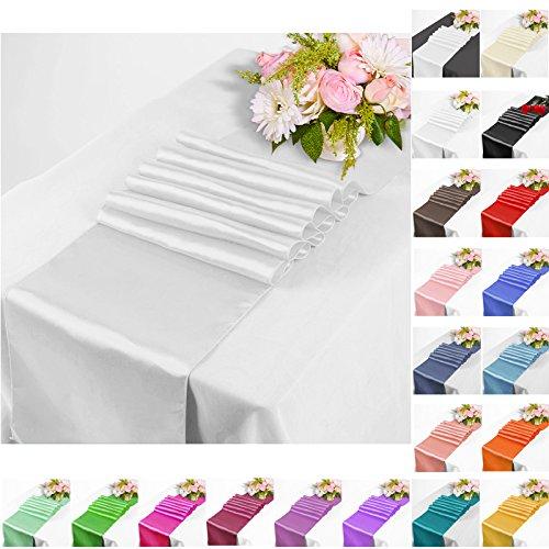 TtS (Silber) Satin Tischläufer Tischwäsche Hochzeit Bankett Dekoration Party-30x275cm (Silber Tischwäsche)