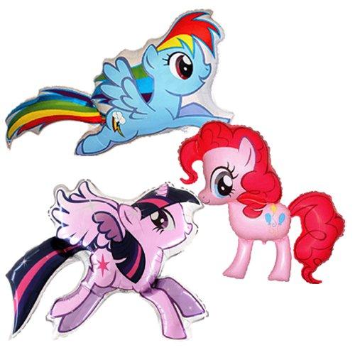 My Little Pony: Pinkie Pie, Rainbow Dash & Twilight Sparkle Folienballons (Set von 3 Ballons)