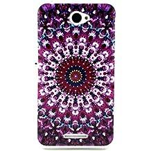 case cover para Sony Xperia E4,Crisant flor violeta tribal Diseño Protección suave TPU Gel silicona Teléfono Celular Back funda Carcasa para Sony Xperia E4