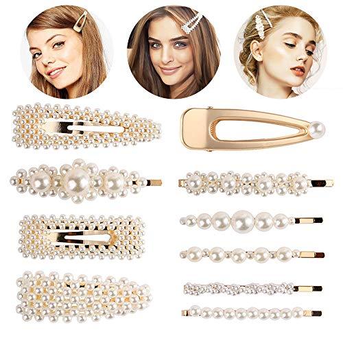 949baeea22acdb NIBESSER' Kit Barrettes de Cheveux Femme Clip Pince Pic Barrette Epingle à  Cheveux Bijoux Perle Pour Marriage Soirée Anniversaire
