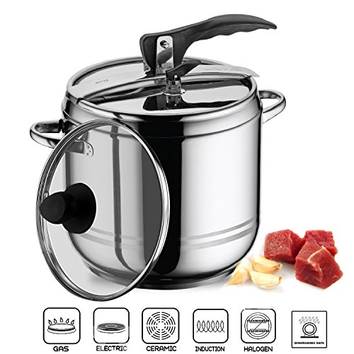 2 in 1 Stainless Steel Stovetop Pressure Cooker Stockpot With Glass Lid (9 L)