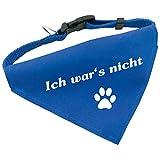 Hunde-Halsband mit Dreiecks-Tuch ICH WAR'S NICHT, längenverstellbar von 32 - 55 cm, aus Polyester, in blau