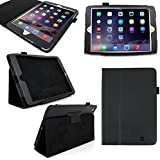 DURAGADGET Apple iPad Mini 3 Tablet Case - Deluxe Folding Folio Cover with Reverse Kick-Stand in Matte Black Faux Leather for the Apple iPad Mini 3 (Gold, Silver, Space Grey, 16GB, 64GB, 128GB, WiFi, Cellular, A7, M7)