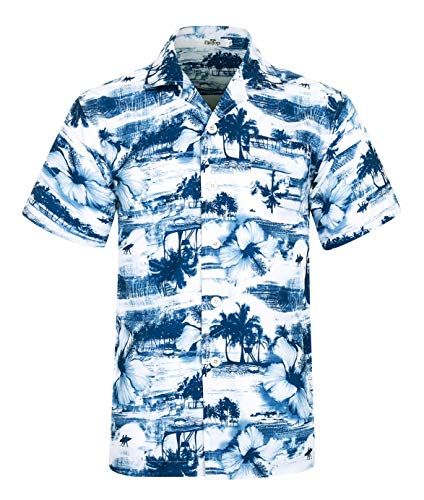 Herren Hawaii Hemd Kurzarm Flamingos Aloha Party Shirt Palm Beach Shirts Coconut Tree Print EHS012-2XL - Tree Print Shirt