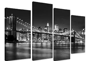"PICTURE - Multi Split Panel Canvas Artwork Art - New York City Skyline Black And White Bridge Lights River - ART Depot OUTLET - 4 Panel - 101cm x 71cm (40""x28"")"