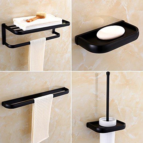 4 Stück Badezimmer Handtuchhalter (MangeooAlle europäischen Stil schwarz Bad Handtuchhalter, antike Badezimmer Rack, vier Stück Set 1)