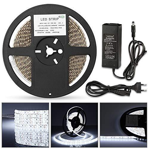 Ruban LED 5M Etanche IP65 Blanc Froid 6000K SMD2835 600LEDs Bande LED 5m CRI80 pour Décoration Intérieur et Extérieur, Luminaire, TV (transformateur 12V 5A incluso)