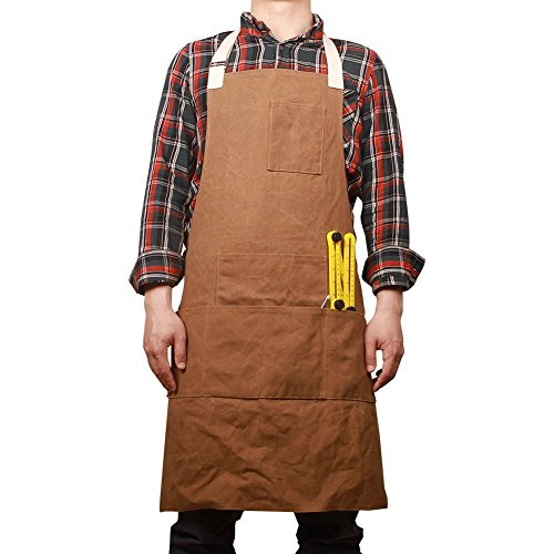 Hense Unisex Heavy Duty Waxed Canvas Work Apron With Waterproof Function, Soft and Ventilated Suit for Kitchen, Garden, Pottery, Craft Workshop, Garage and More Activities(HSW-063)