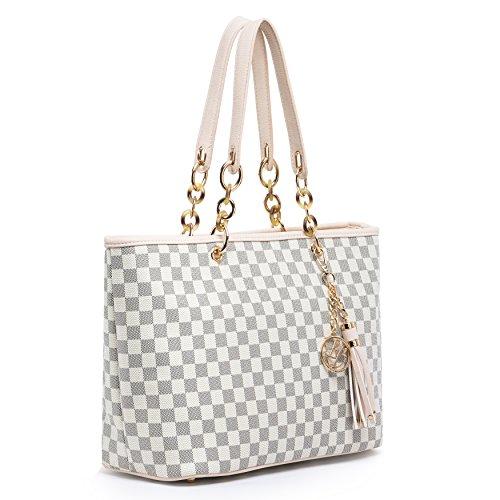 Lola Benson® Starr Frauen Monogramm Stern Check/Logo Handtasche Schultertasche Shopper Tote Bag (Beige Damier) -