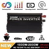 Hehilark Spannungswandler 12V 1000 Watt Inverter Wechselrichter DC 12V auf AC 230V,Power Inverter Converter Stromwandler auf 2000 Watt mit 2.4A USB Anschlüsse(Y81000U)