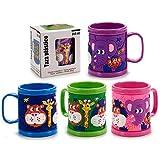 takestop® - Taza para Bebidas de plástico con diseño de Animales, 350 ml, con Leche y Capuchino con Mango de Colores para niños, niños, niños, niñas y bebés