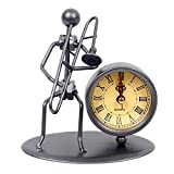 Modern creative Iron Art strumento accessorio da scrivania nero orologio al quarzo Orologio vintage, con orologio decorativo orologio orologio da tavolo casa scrivania decorazione ornamento regalo C66 Trombone