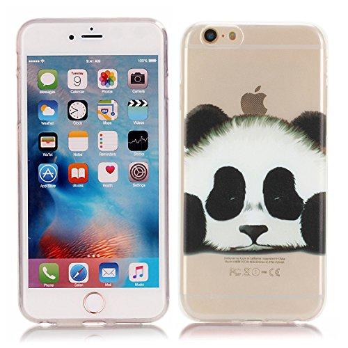 Cover iPhone 6S 6, EUFO Custodia Cover Apple iPhone 6S 6 Trasparente con Disegni Unicorno Silicone Morbido TPU Gomma Ultra Slim Sottile Bumper Back Case Copertura Protezione ProtettivaResistenti Anti Panda