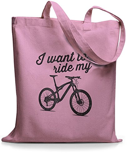 StyloBags Jutebeutel / Tasche I want to ride my MTB Rosa