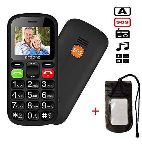 Doppel-SIM entriegelt GSM Big Button-Handy für ältere Menschen, artfone MT6261M Flash 32 + 24 MB GSM Senior Handy mit extra Lauten Lautsprechern, Tastatur sprechen, Bluetooth, SOS, Kurzwahl Gsm-flash