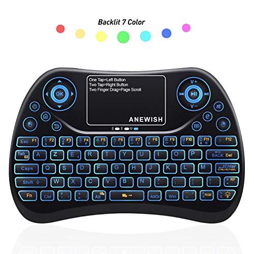 ANEWISH AZERTY Mini Clavier sans Fil Rétro-éclairé 7 Couleurs avec Touchpad 2.4GHz Wireless Clavier pour Smart TV, Mini PC, HTPC, Console, Ordinateur