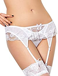 0397ff4bc4 Yummy Bee Suspender Belt Slim Frilly Lace Garter G String Lingerie Plus Size  8-18