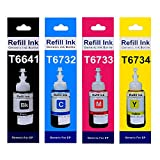 #9: Epson printer ink / Epson Compatible Refill Ink / Epson Ink Bottle / Epson refill Ink - L100, L110, L130, L200, L210, L220, L300, L310, L350, L355, L360 , L361, L365, L380, L385, L455, L485, L550, L555, L565, L605, L1300 Printer Set of 4 Colors By : Merchandise Zone