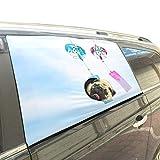 Hermoso viento Campana campana plegable para mascotas Perro de seguridad Coche Impreso Ventana Valla Cortina Barrera Protector para bebé niño Ajustable Sombrilla Cubierta Universal Ajuste para Suv