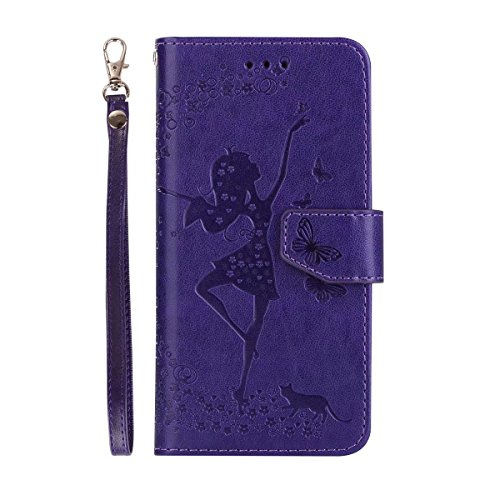 Abnehmbare 2 in 1 Crazy Horse Texture PU Ledertasche, Fairy Girl Embossed Pattern Flip Stand Case Tasche mit Lanyard & Card Cash Slots für iPhone 7 ( Color : Gray ) Purple