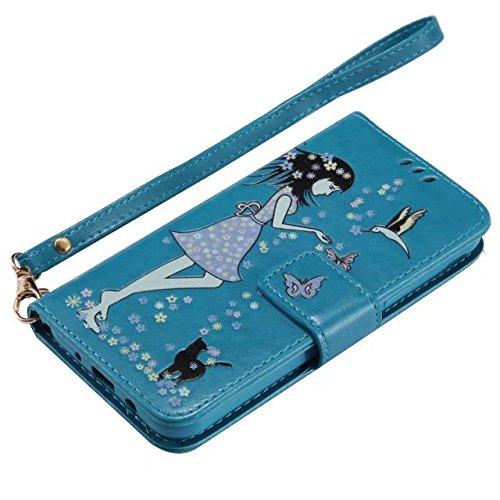 Horrizontal Folio Stand PU Ledertasche, Geldbörse Geldbörse Abdeckung Fall mit Lumious Shining Effekt & Lanyard für Samsung Galaxy J3 2017 ( Color : Gold ) Blue