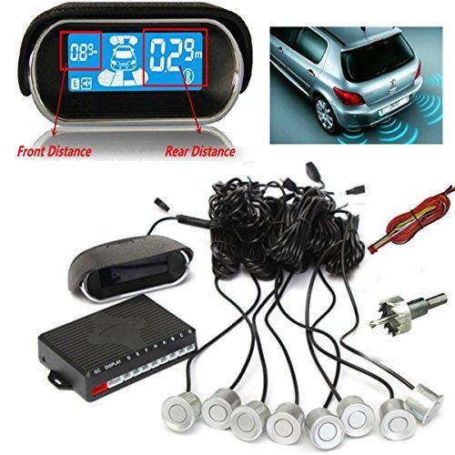 AUDEW Kit Rueckfahrkamera Mit 8x 22mm Sensoren Einparkhilfe Parksensor mit einem Display Auto Parken Sensor System