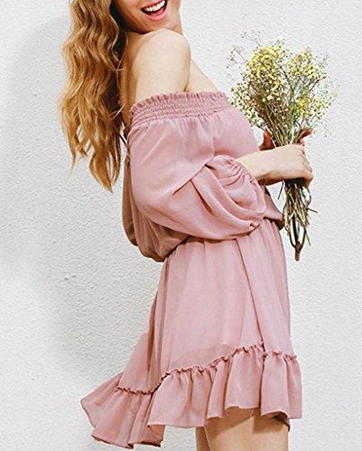 Bigood Femme Sexy Cou Horizontal Robe Manche Longue à Volant Rose