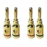 4 Stück Bananenstecker / Adapter für Lautsprecherkabel für 5.1 Set, bis 6 Boxen von hinten oder seitliche Einführung, roter und schwarzer Ring 10 Jahre Garantie, Marken Ware von M&G Techno®
