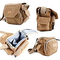 DURAGADGET Light Brown Medium Sized Carry Bag for DSLR / SLR / Micro Four Thirds / Compact / Action Cameras - With Customizable Interior Storage Compartment & Adjustable Shoulder Strap (Dimensions: 140 x 140 x 70mm)