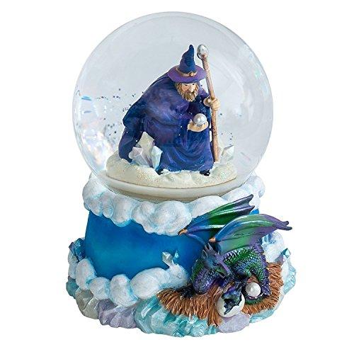 Cadona International, Inc Violett Wizard und Dragon 100mm Water Globe Play Tune Puff The Magic Dragon