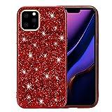"""Nadoli Glitter Custodia per iPhone 11 Pro 5.8"""" Rosso Morbido Silicone Bling Galvanotecnica Telaio Ultra Sottile Antiurto Antigraffio Protettivo Custodia Copertina Cover,Rosso"""