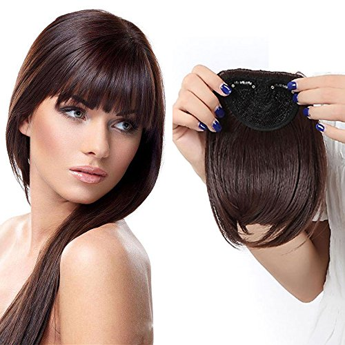 Extension frangia capelli bangs hair clip one piece frangetta corta frontale capelli lisci 30g marrone medio
