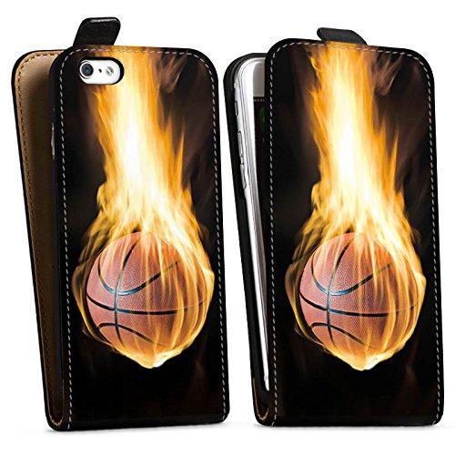 Apple iPhone X Silikon Hülle Case Schutzhülle Basketball Feuer Flammen Downflip Tasche schwarz