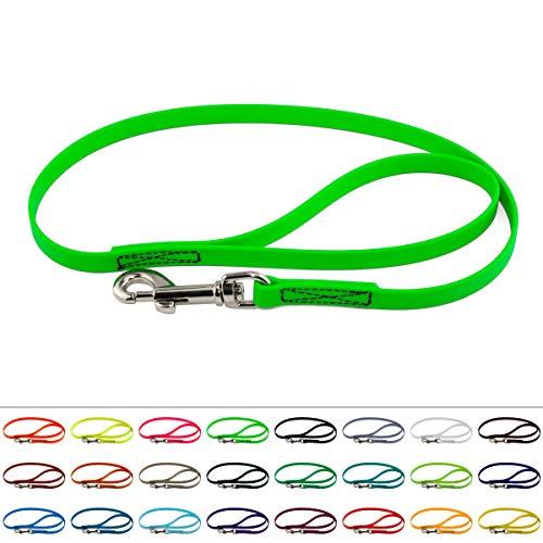 LENNIE BioThane Führleine, 16mm breit, 2m lang, Neon-Grün, mit Handschlaufe, genäht