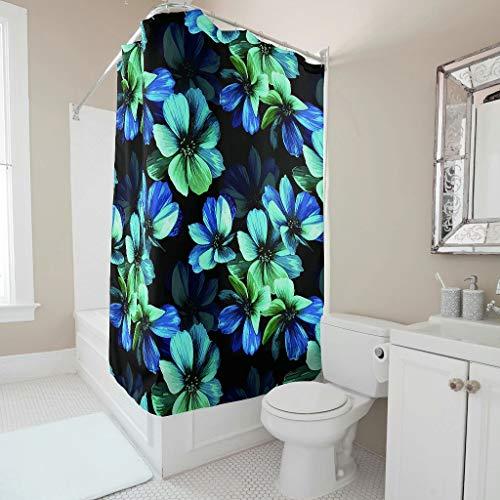 Mouse Mickey Kostüm Fantasia - Charzee Duschvorhänge Fantasy Green Blue Flowers Muster Schimmel Resistent hochwertige Qualität Blue Green Vorhang 150x200cm Bad Vorhang mit lebendigen Farben