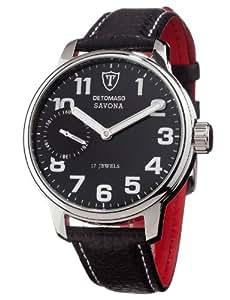 DETOMASO Herrenuhr Handaufzug Edelstahlgehäuse Lederarmband Mineralglas SAVONA Handaufzug Classic schwarz/schwarz DT1028-A