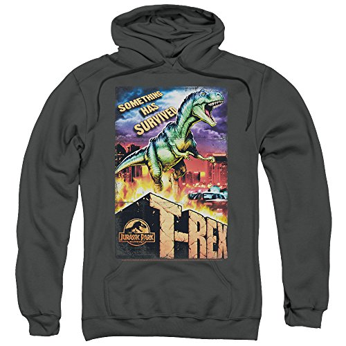 2Bhip Jurassic Park Dinosaur Movie Spielberg Rex in The City Adult Pull-Over Hoodie